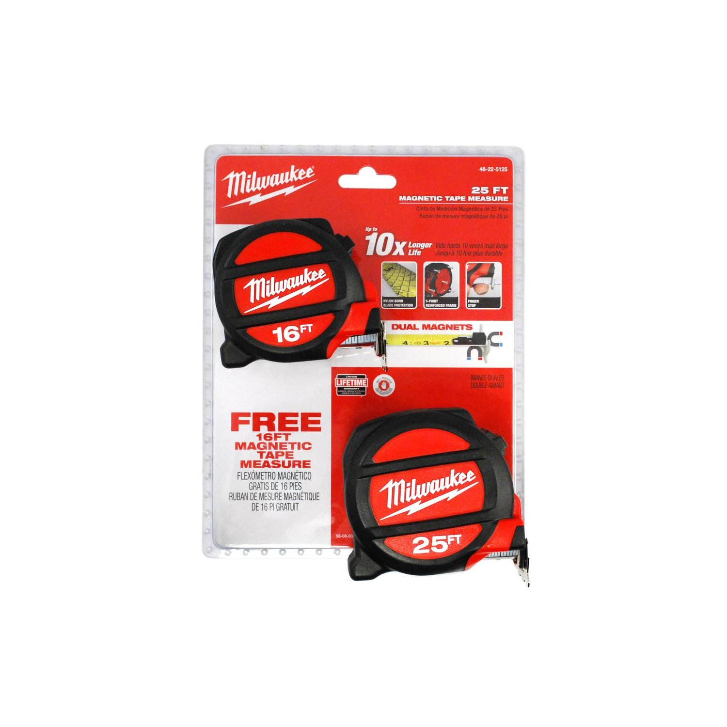 Milwaukee Magnetic Tape Measure 25 ft + Free 16 ft Tape: Amazon.com: Industrial & Scientific