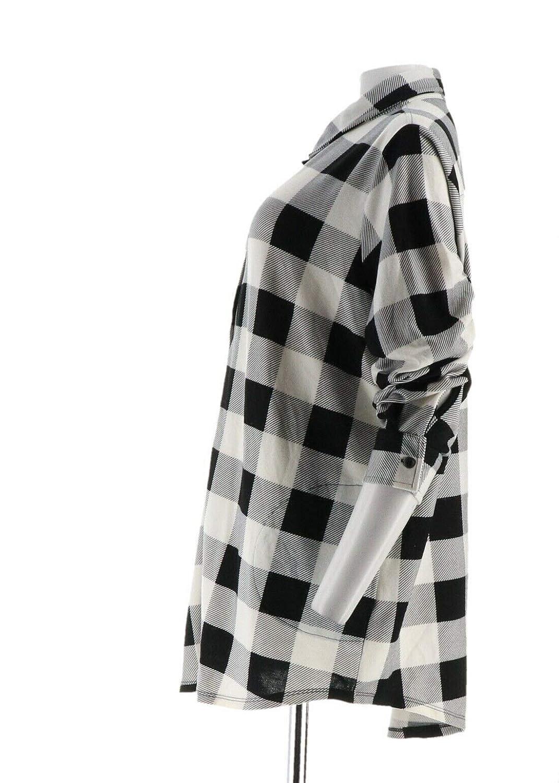Denim /& Co Buffalo Plaid Button Tunic Top A296477