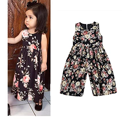 Franterd Baby Black Floral Rompers with Big Wide Leg Pants, Kid Loose Playsuit Jumpsuits One