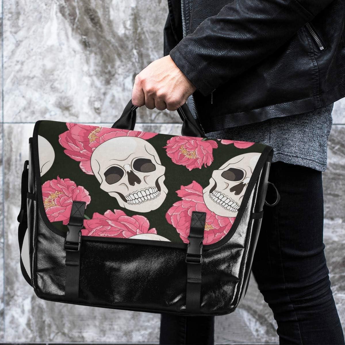 Casual Canvas Satchel Traveling Camping Flower for Men Women Student Laptop Computer Messenger Bag Shoulder Bag Gothic Skull Pink Peonies Flower