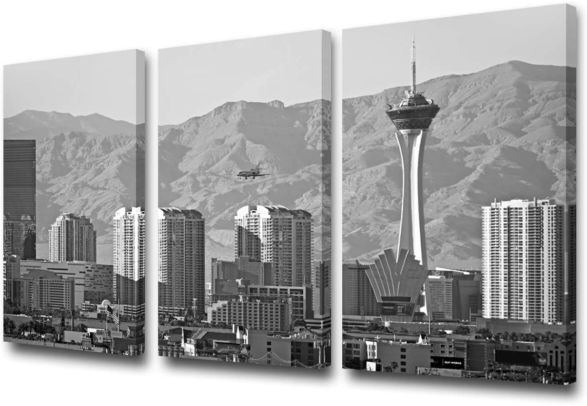 TUMOVO 3 Pieces Canvas Wall Art City Las Vegas Skyline Black and White Wall Pictures for Living Room Modern Nevada Cityscape Art Wall Decor Stretched and Framed Ready to Hang - 24'' x 12'' x 3 Panels