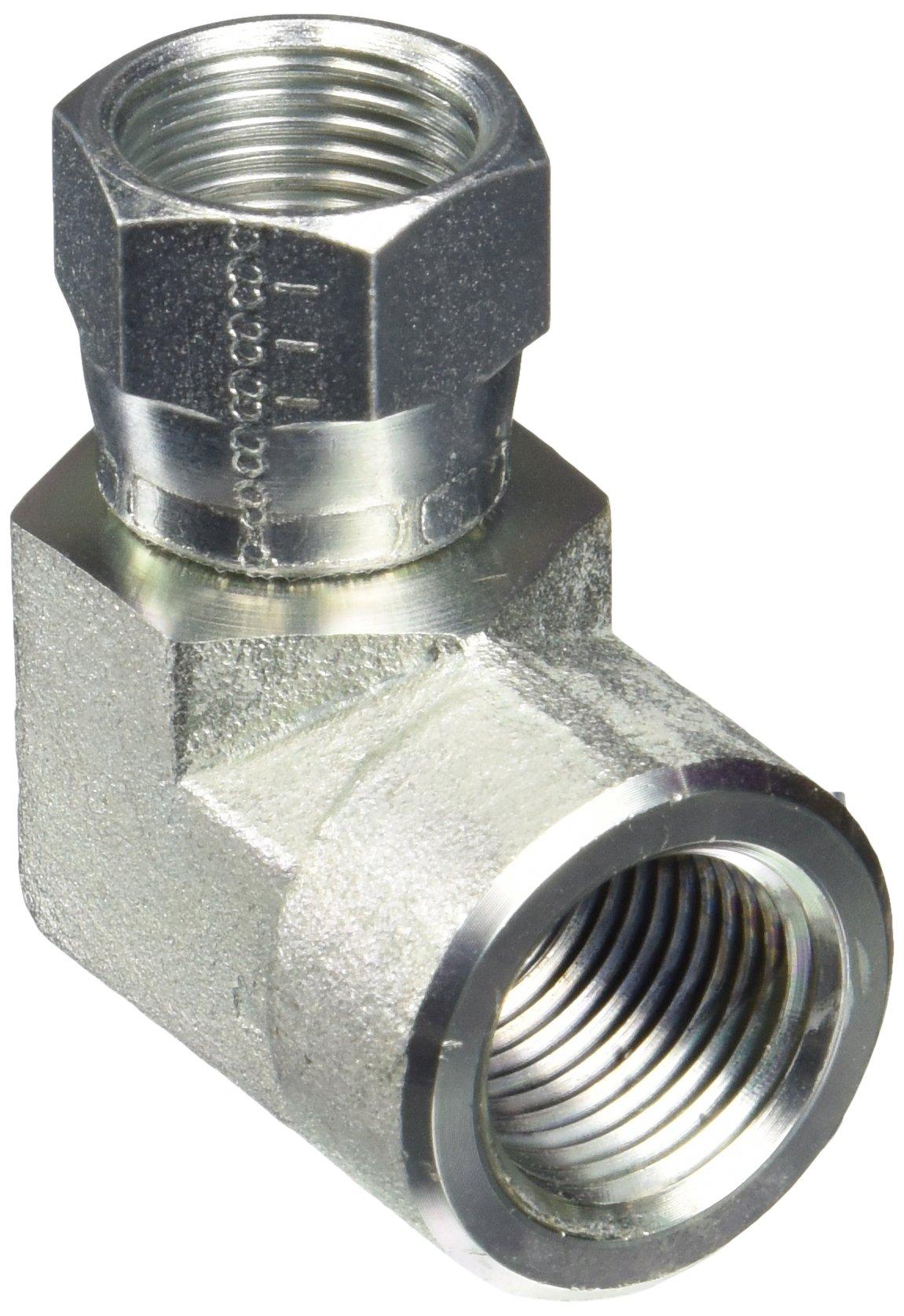 Eaton Aeroquip 2244-8-8S 90 Degree Swivel to Female Pipe, JIC 37 Degree & NPT End Types, Carbon Steel, 1/2 JIC(f) x 1/2 NPT(f) End Size, 1/2'' Tube OD, 1/2'' Female Pipe Size by Aeroquip (Image #1)