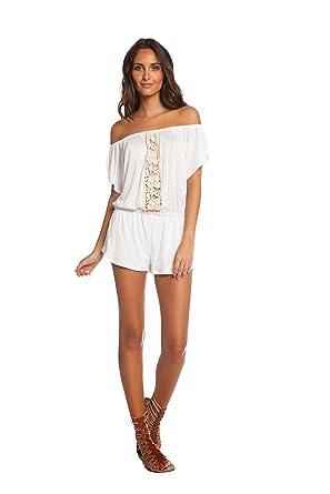 9d76fabf2b58 Amazon.com  ELAN Women s Off The Shoulder Romper (Large) White  Clothing
