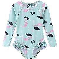 Baby Girls One Piece Swimsuits Long Sleeve Swimwear Zipper Back Bathing Suit Sun Protection UPF 50+
