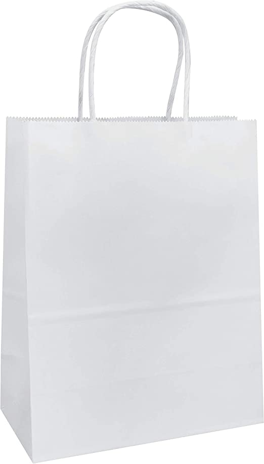 White Paper Gift Bags Shopping Party 100 Pcs Merchandise Crafting 8 x 10