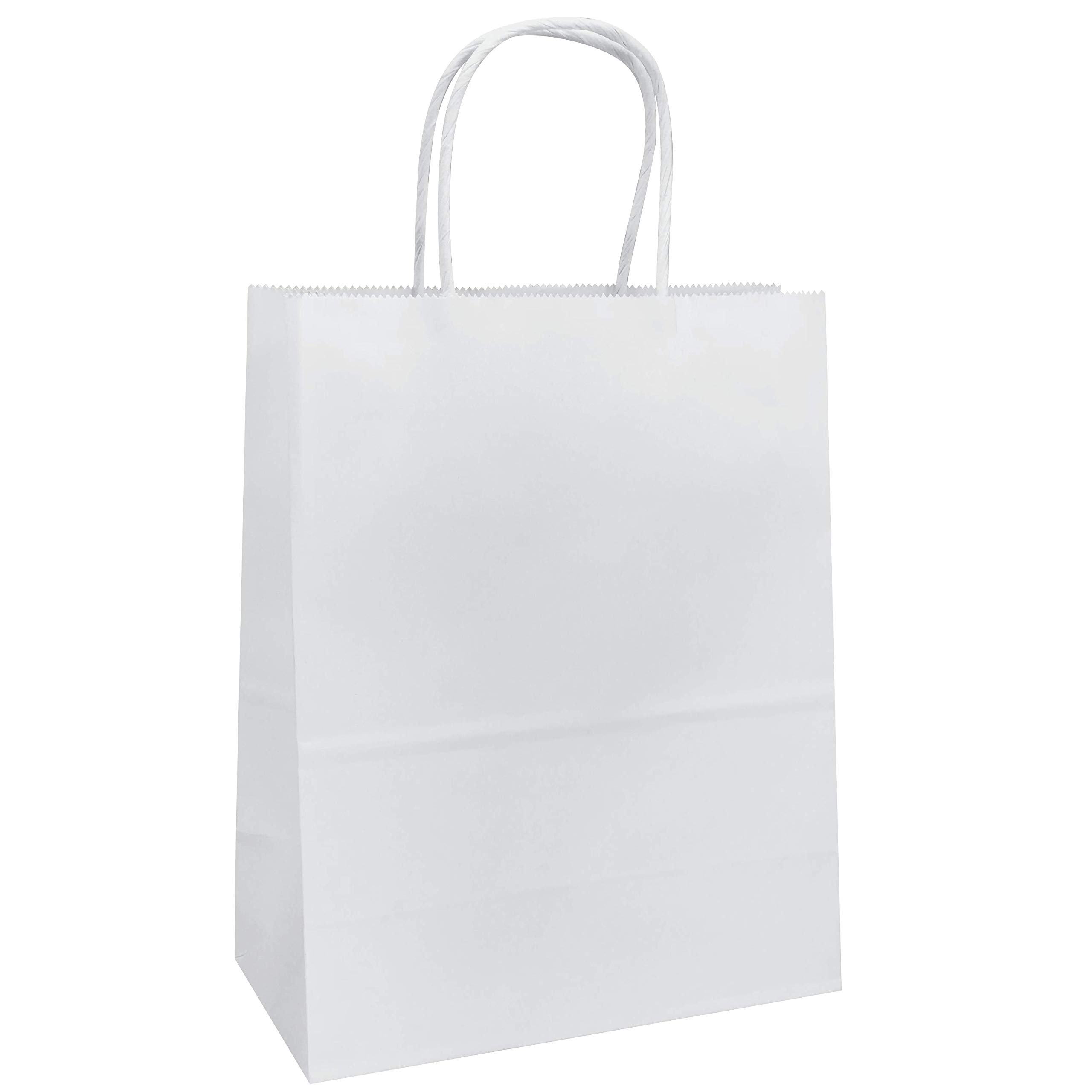 8''x4.75''x10'' -White Kraft Paper Bags Shopping Merchandise Party Gift Bags (100, Plain)