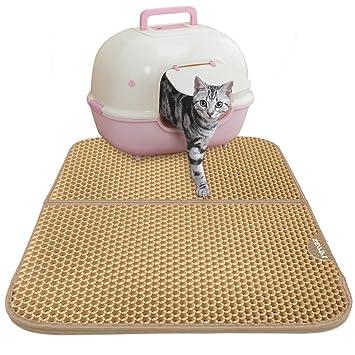 Zellar - Alfombrilla para arena de gato de doble capa, para comer a gatos,