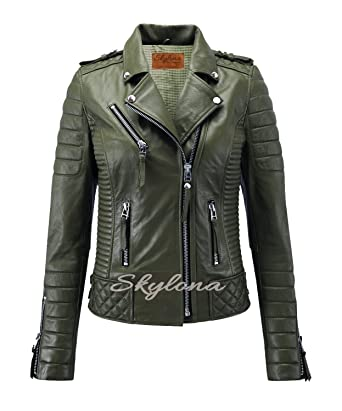 100% high quality how to orders on wholesale Womens Leather Jackets Stylish Motorcycle Biker Real Lambskin Olive Green