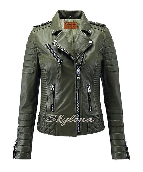 Womens Leather Jackets Stylish Motorcycle Biker Real Lambskin Olive