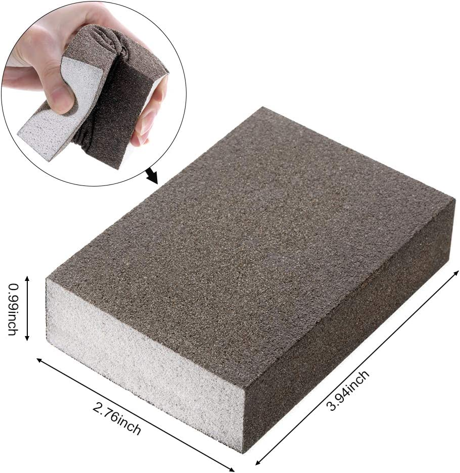 Asdomo 5Pcs Sanding Sponge Coarse Medium Fine Superfine 5 Different Specifications Assortment Sanding Blocks,Washable and Reusable Sand Sponge Kit