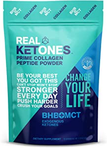 Real Ketones Prime Collagen Peptides Protein Powder Drink Mix with Keto BHB and C8 MCT Oil, Unflavored, GF, Non-GMO, Grass Fed, and Paleo Diet Friendly,