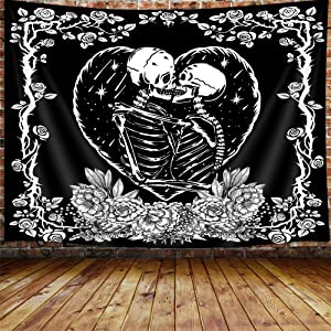 "Trippy Skull Small Tapestry, Tarot Card Black and White Skeleton Lover Tapestry Wall Hanging for Bedroom, Flower Aesthetic Goth Home Decor Tapestry Beach Blanket College Dorm (60""W X 40""H)"