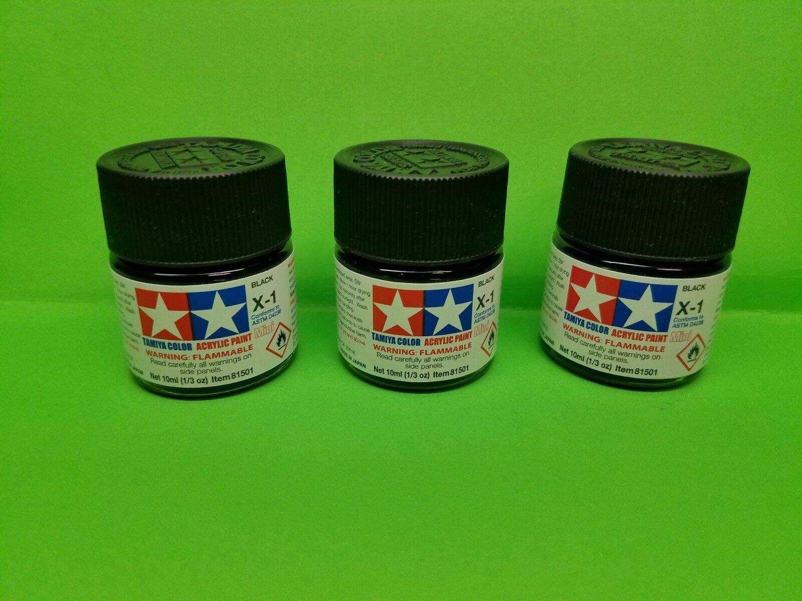 3 Pack Tamiya X1 Gloss Black Acrylic Paint Jar 81501 TAM81501 TESTORS REVELL 1