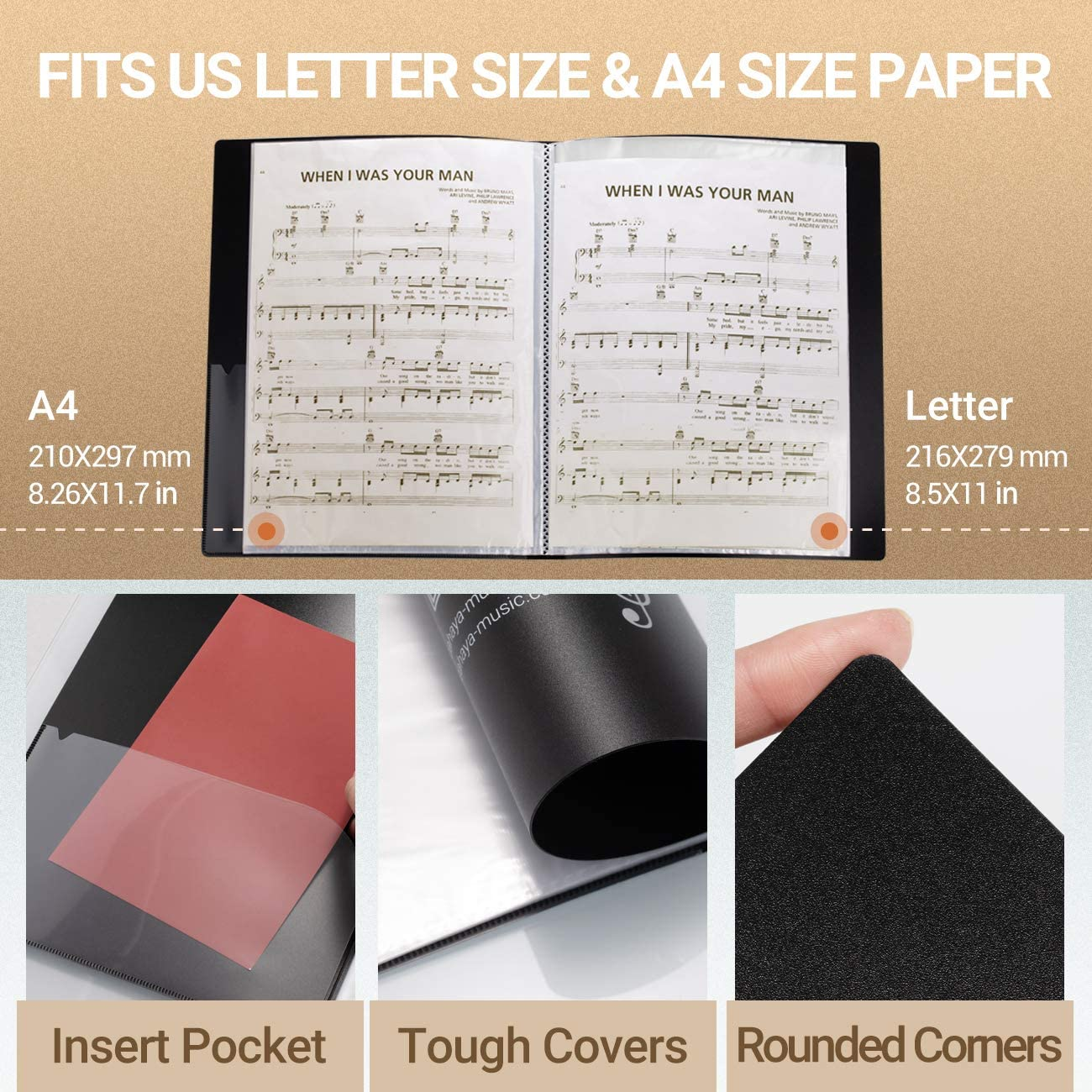 CAHAYA Sheet Music Folder Documents File Paper Storage Blank Sheet Organizer US Letter Size A4 Size 40 Pockets
