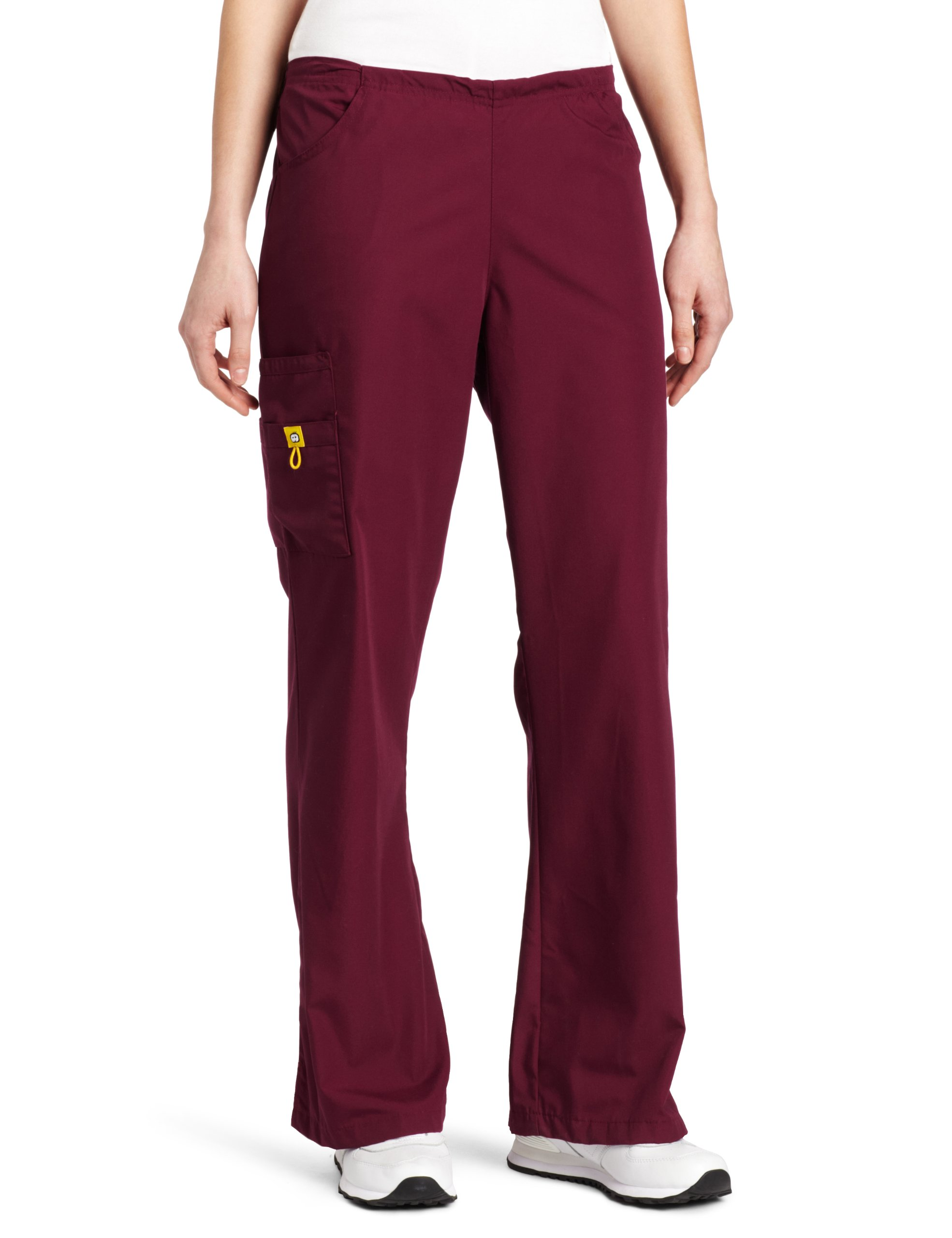 WonderWink Women's Scrubs Romeo 6 Pocket Flare Leg Pant, Wine, X-Large/Petite