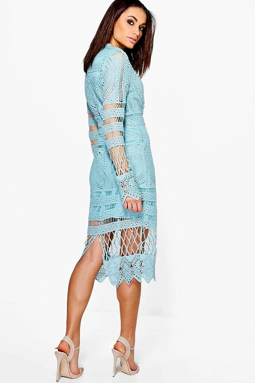Boohoo Womens Boutique Jay Lace Panelled Midi Dress at Amazon ...