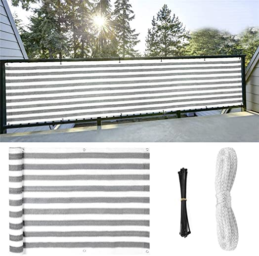 40 x 105 Shade Cloth Taped Edge with Grommets, SuperThinker Deck Balcony Privacy Screen Cover Fence for UV Protection Apartment Outdoor Windscreen Covering Mesh Cloth, Large Size – White Grey Strips