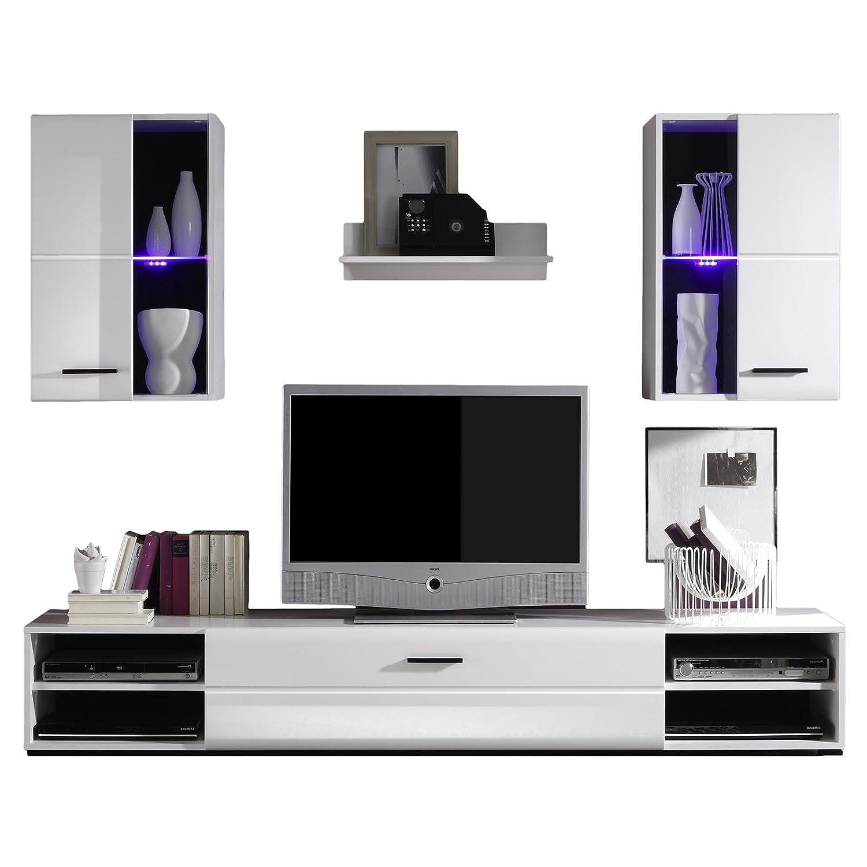 Wohnwand modern schwarz matt  Wohnwand NELE in weiss Hochglanz und mit LED-Beleuchtung in blau ...