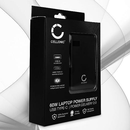 CELLONIC® Fuente de alimentacion USB Tipo C 60W con 2 Salidas y Entrega de Potencia Compatible con un portátil Notebook, Smartphone, Tablet, 60 Vatios ...
