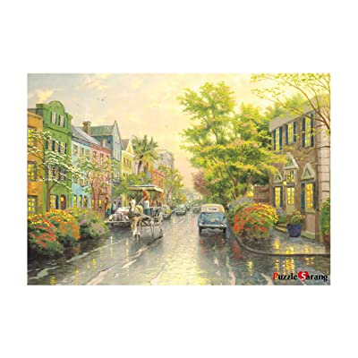 [PuzzleLife] Charleston Sunset Rainbow Row | 1000 Piece - Large Format Jigsaw Puzzle. Can be Enjoyed Puzzle Game by All Generation. Beautiful Decoration, Pleasant Play. Free Bonus Poster: Toys & Games