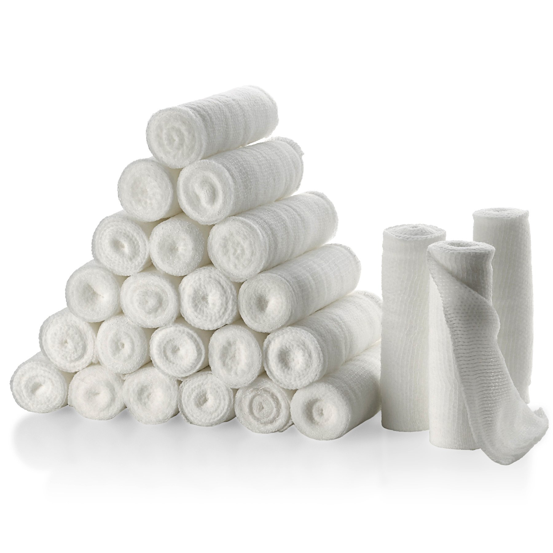 "Gauze Bandage Rolls - Pack or 24, 4"" x 4 Yards Per Roll of Medical Grade Gauze Bandage and Stretch Bandage Wrapping for Dressing All Types of Wounds and First Aid Kit by MEDca"