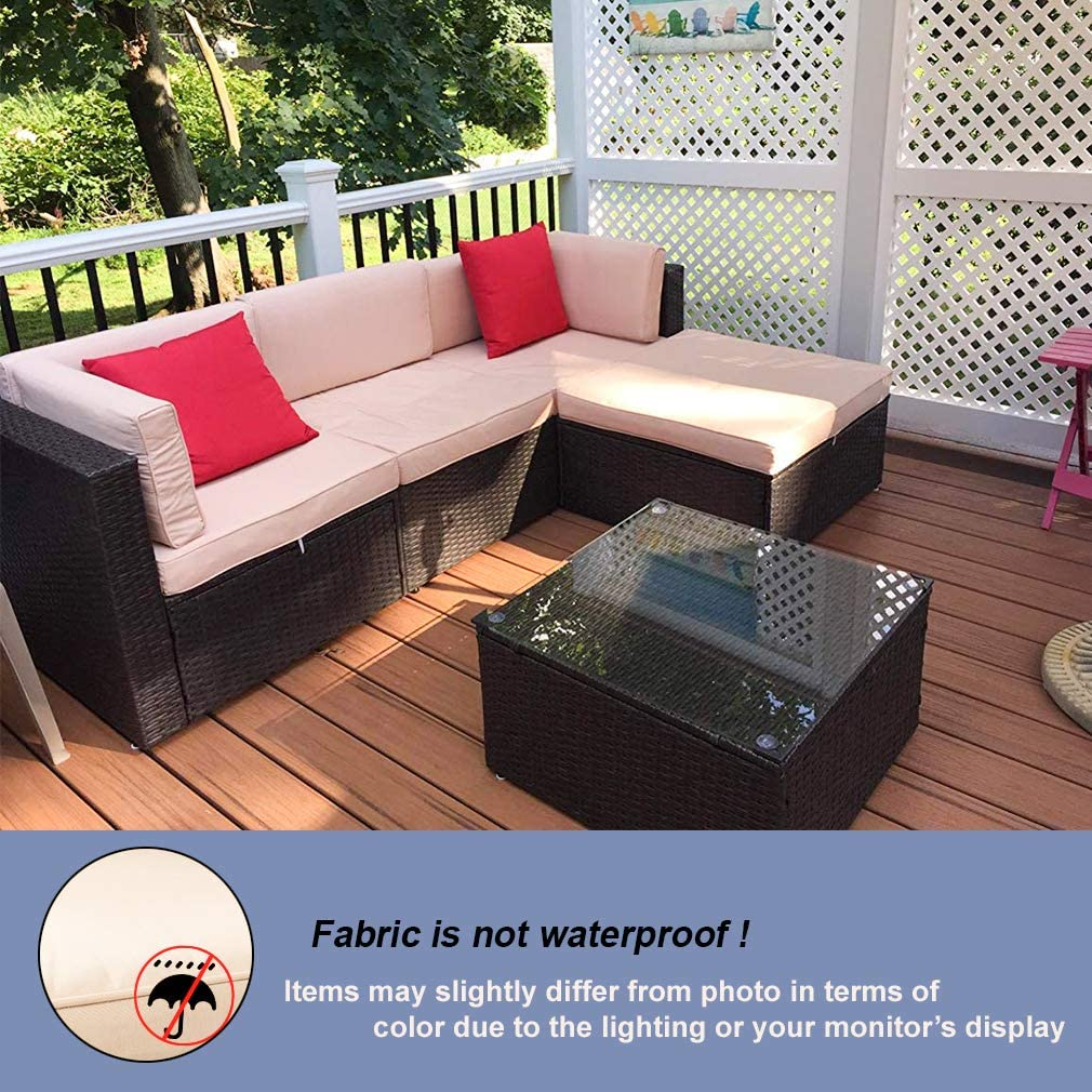 FDW 5 Pieces Outdoor Patio Furniture Sets Sectional Sofa Rattan Chair Wicker Conversation Set Outdoor Backyard Porch Poolside Balcony Garden Furniture with Coffee Table,Brown