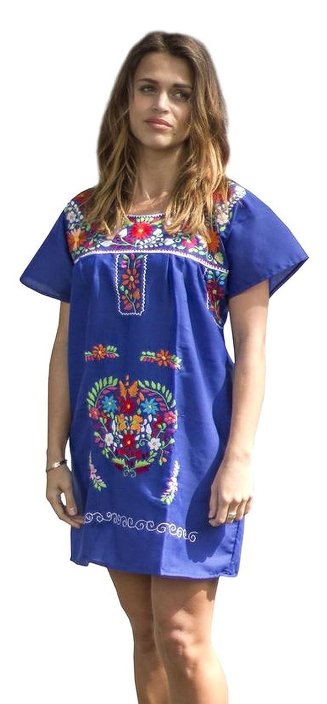 1098581e61 Amazon.com  Liliana Cruz Embroidered Mexican Peasant Mini Dress  Clothing