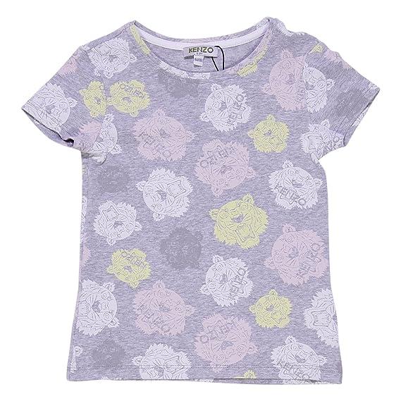 f067a3dd74d9 Kenzo Girl Light Marled Grey Cotton Jersey Printed T-Shirt Mod. KJ10138  14A  Amazon.co.uk  Clothing