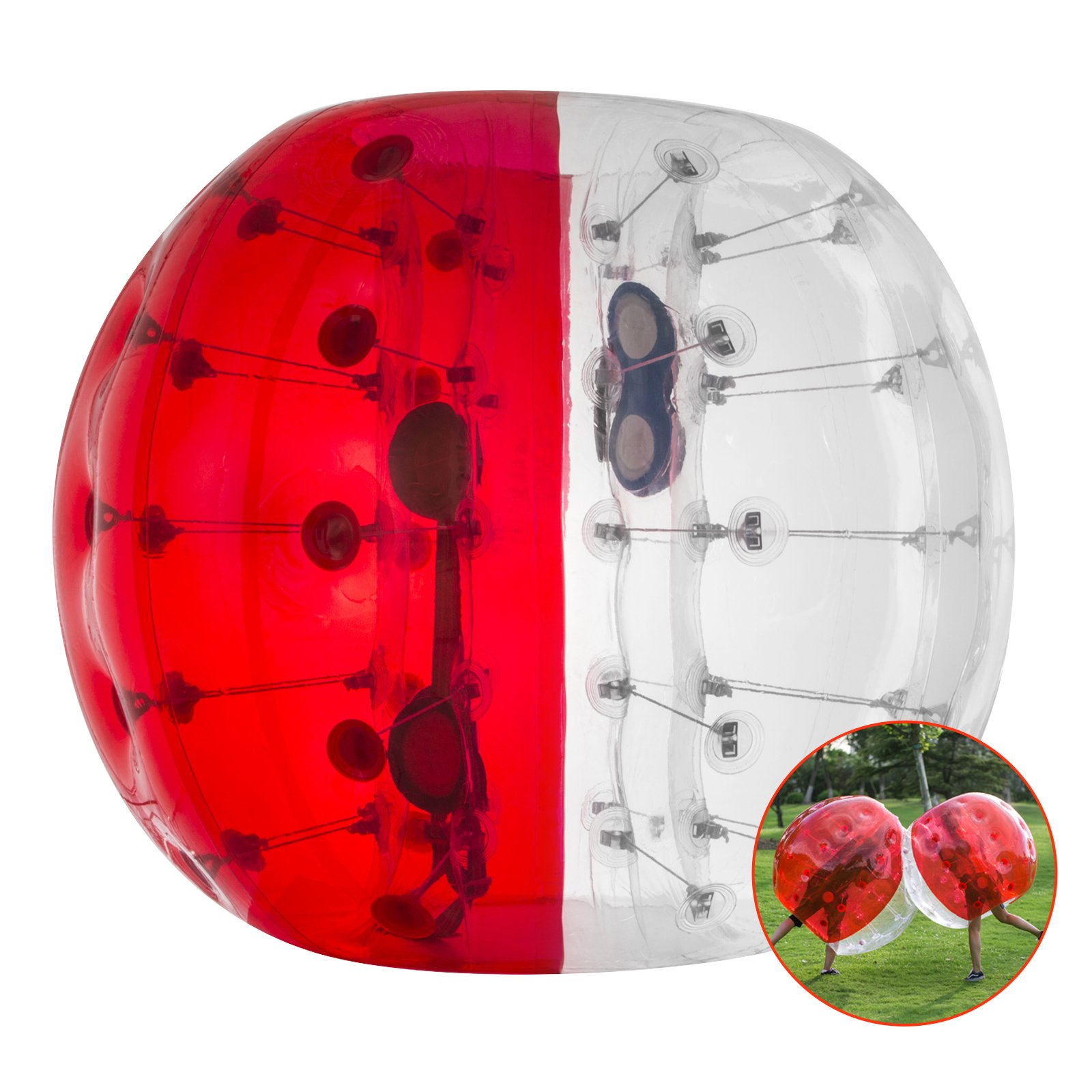 Happybuy Inflatable Bumper Ball 1.2M/4ft 1.5M/5ft Diameter Bubble Soccer Ball Blow Up Toy in 5 Min Inflatable Bumper Bubble Balls for Adults or Child (Half Red, 4ft)