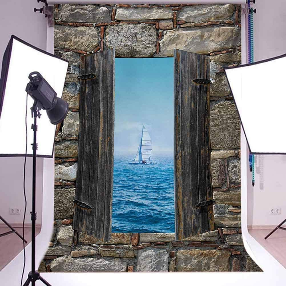 Nautical 10x15 FT Photo Backdrops,Image of A Sailing Boat from Stone Window Narrow Perspective Idyllic Mediterranean Background for Baby Shower Bridal Wedding Studio Photography Pictures Grey Blue
