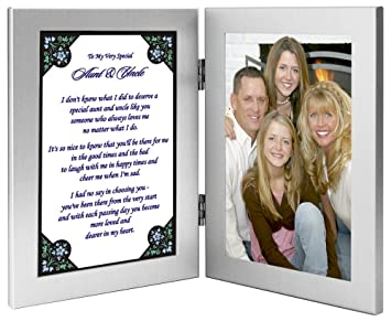 aunt and uncle gift from niece or nephew sweet poem in double frame with room