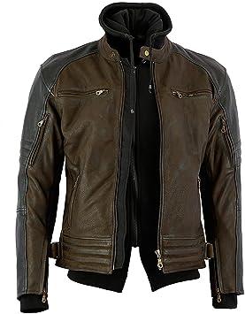taglia M Bikers Gear Australia Limited The Craig giacca moto nabuk cerato in pelle bovina con cappuccio con 5/punti Armour marrone e nero marrone con maniche nero