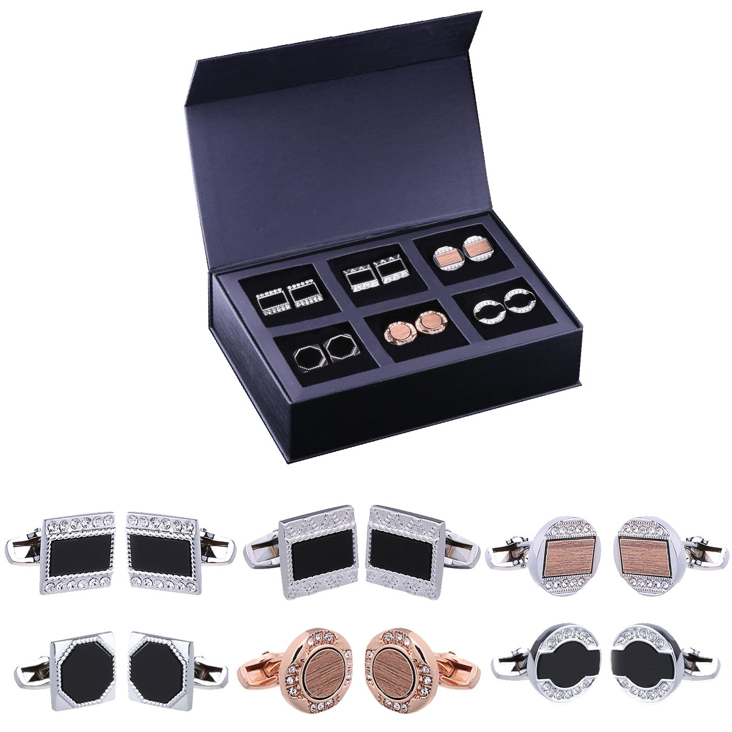 Edwardian Men's Accessories BodyJ4You 12PC Cufflinks Button Shirt Men Black Silvertone Goldtone Jewelry Set Gift Box 6 Pairs $19.99 AT vintagedancer.com