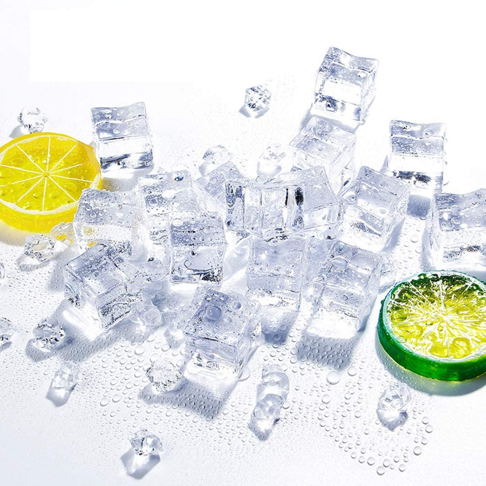 Anyumocz 50 Pcs 20mm Clear Fake Ice Acrylic Decorative Ice Cubes Display for Home Decoration Wedding Centerpiece Vase Fillers,Photography Props&Kitchen Decoration