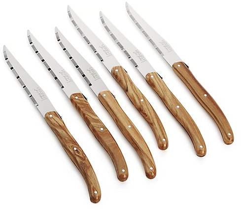 Laguiole ® Olivewood Steak Knives Set of 6 | Crate and Barrel