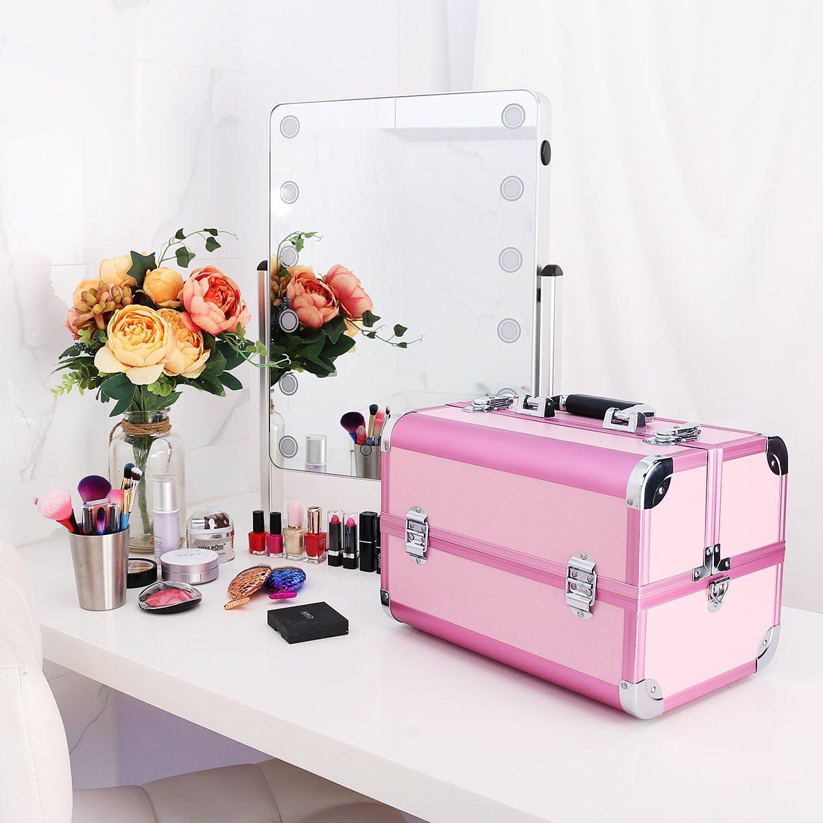 Ovonni Caja Profesional de Maquillaje portátil, Artista Caja de Almacenamiento de Organizador cosmético de Aluminio con 15 Compartimentos, 4 bandejas, Rosa: Amazon.es: Equipaje