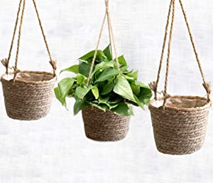 Handmade Natural Hanging Seagrass Planter Basket With Plastic Liner, Indoor Outdoor Garden Decoration, Farmhouse Rustic Boho Look, Succulent Plants, Flower Pots (8,10&12 inches - 3 Pack) - Original