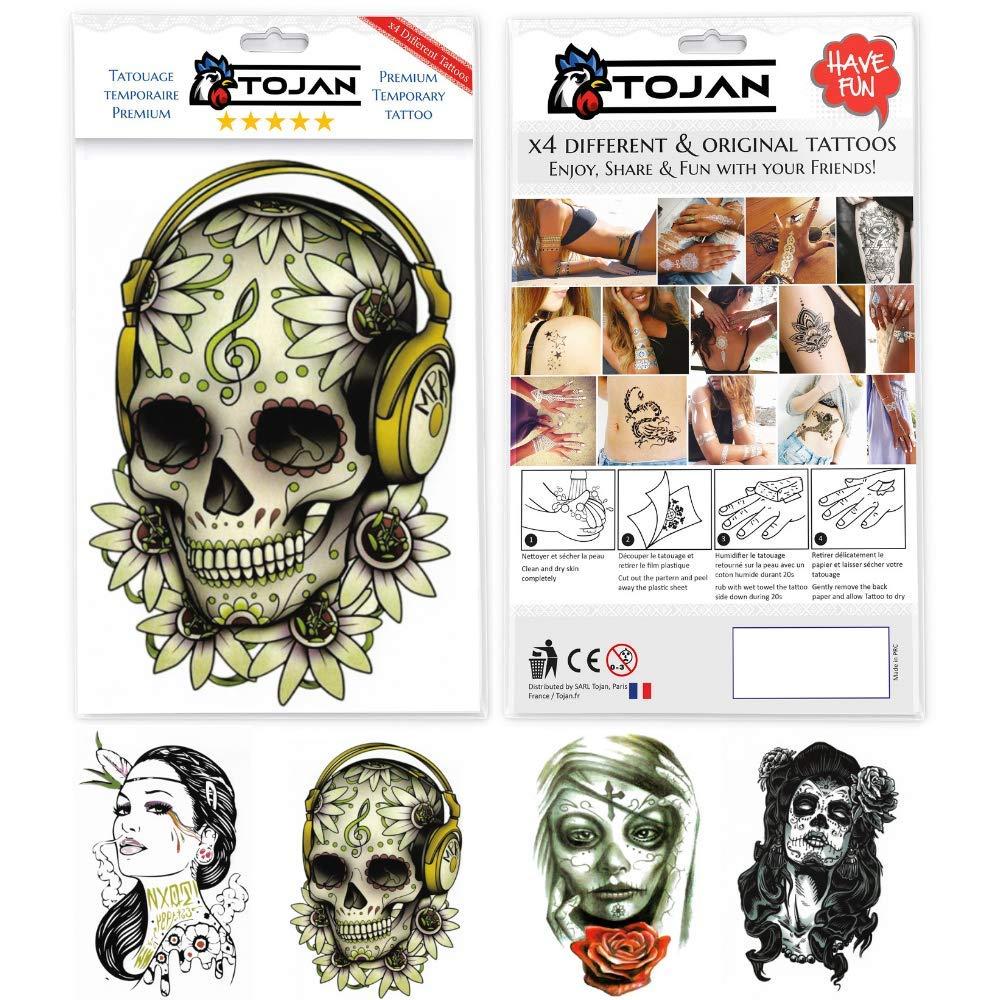 Tatuaje Temporal de TOJAN en paquete de 4 Tablones (Cabeza de la ...