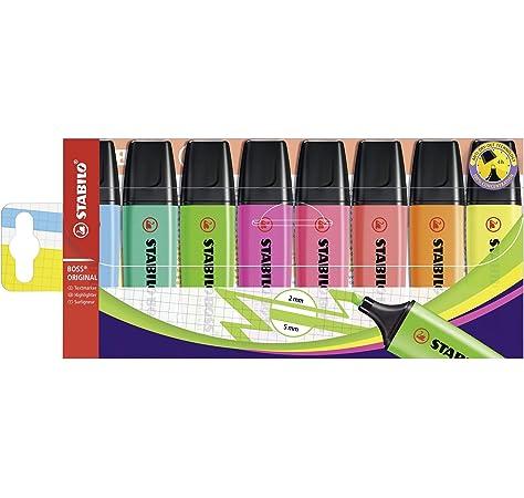 Marcador STABILO BOSS ORIGINAL Pastel - Estuche con 4 colores pastel, rojo coral, rosa cerezo, azul nube, lima, 4er Pack: Amazon.es: Oficina y papelería