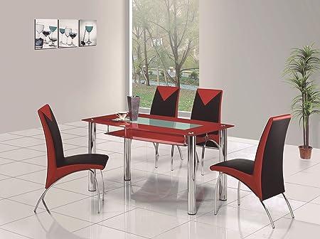 ij interiors rovigo small glass chrome dining room table and 4 rh amazon co uk Metal Dining Table and Chairs White Dining Table and Chairs Set