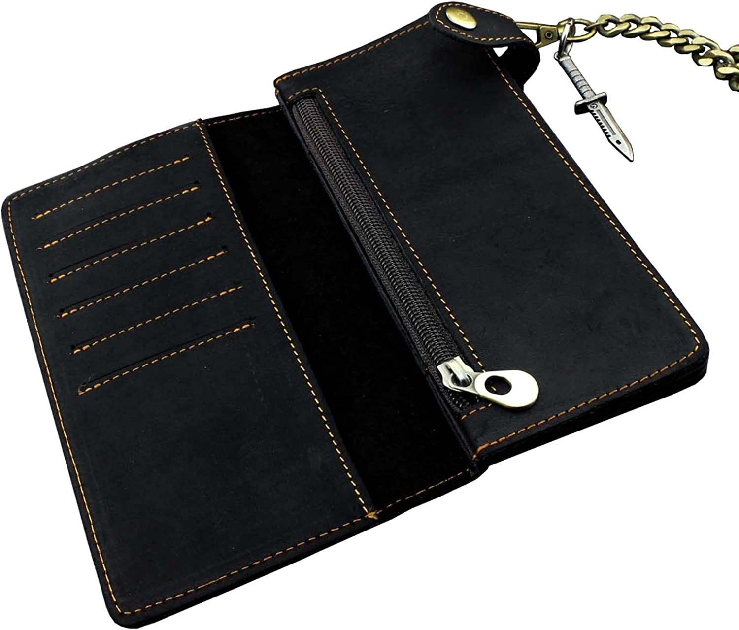 Mens Vintage Black Leather Biker Wallet Purse With Brass Cuban Link Key Chain
