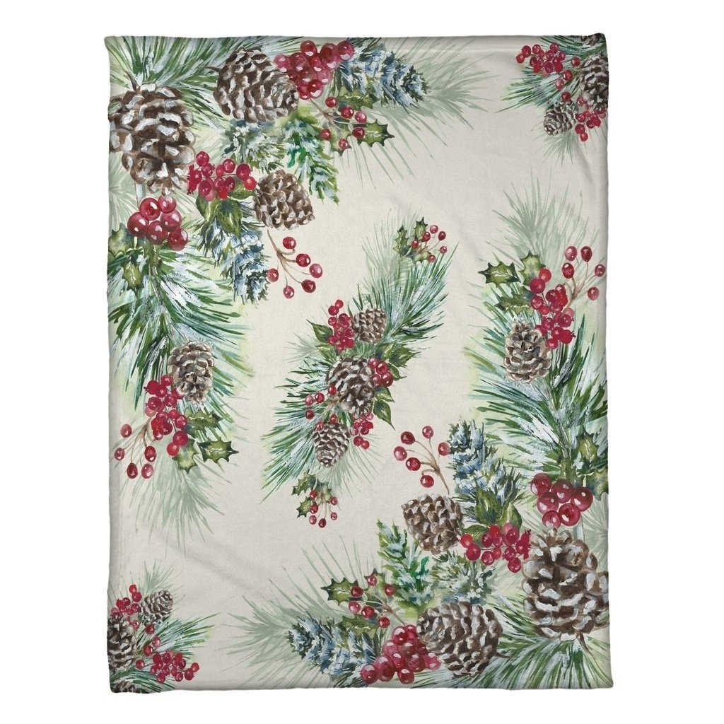 Beautify Any Room This Holiday Season With Festive Greenery Laural Home Winter Garland Fleece Throw,Adds Color and Warmth to any Holiday Decor