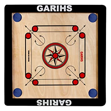Garihs by Fitlark Small Size Carrom Board with Carrom Coins, a neon Striker and a Super Disco Powder, Perfect for Children