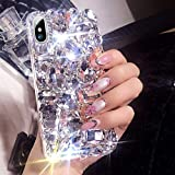 Poowear for iPhone XR Case,3D Handmade Bling Rhinestone Diamonds Luxury Sparkle Rhinestones Case Girls Women Full…