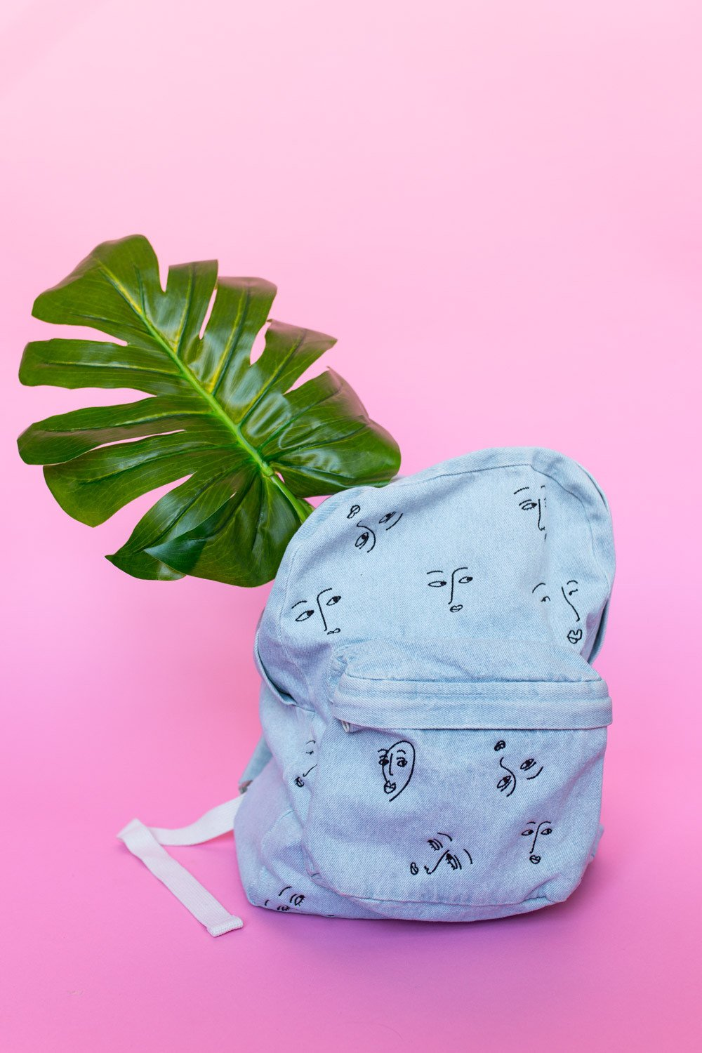 The Style Club - Faces of Love Denim Backpack by CLUB STYLE (Image #2)