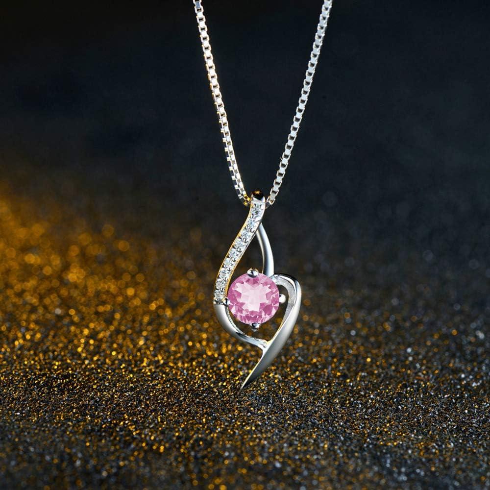 Bijoux en Argent 925 Ensemble Collier Pendentif Coeur Boucles doreilles Zirconium cubique Cadeau avec Paquet exquis