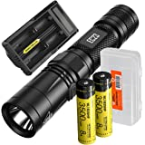 NITECORE EC23 1800 Lumens High Performance LED Flashlight, 2x 3500mAh 18650 Rechargeable Batteries, UM20 Digital Smart Charger and Lumen Tactical Battery Organizer