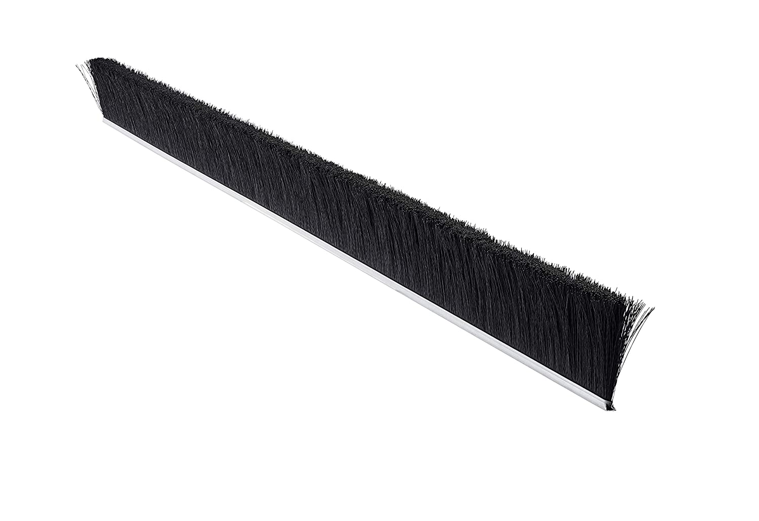"Tanis Brush MB400236 Metal Back Strip Brush with Light Duty 3/16"" Galvanized Steel Backing, Black Nylon Bristles, 3' Overall Length, 2"" Trim Length, 0.010"" Bristle Diameter"