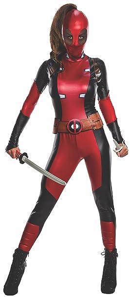 Deadpool traje para las mujeres 3 piezas de cinta mono máscara roja Marvel - XS