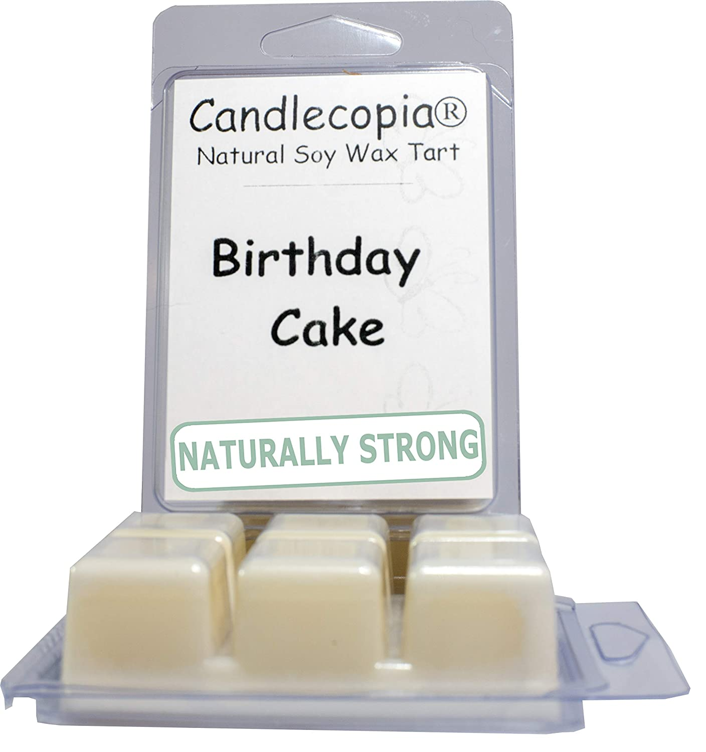 Candlecopia Birthday Cake Strongly Scented Hand Poured Vegan Wax Melts, 12 Scented Wax Cubes, 6.4 Ounces in 2 x 6-Packs